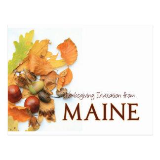 Maine thanksgiving invitation postcard