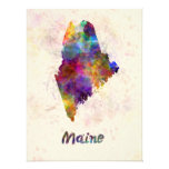 Maine U.S. state in watercolor