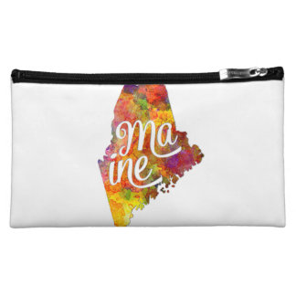 Maine U.S. State in watercolor text cut out Makeup Bag