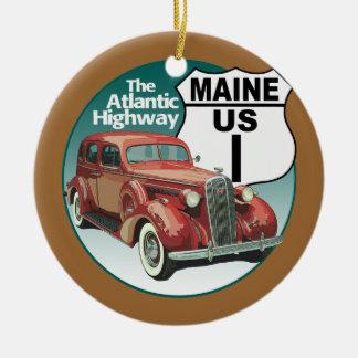 Maine US Route 1 - The Atlantic Highway Ceramic Ornament