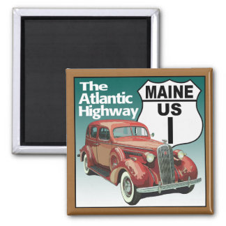 Maine US Route 1 - The Atlantic Highway 2 Inch Square Magnet