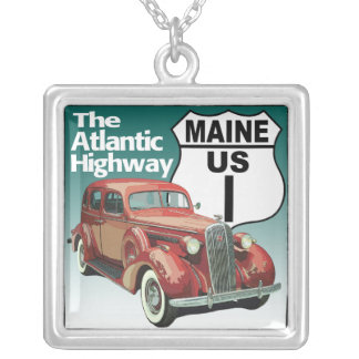 Maine US Route 1 - The Atlantic Highway Square Pendant Necklace