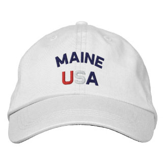 Maine USA Embroidered White Hat