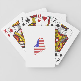 Maine USA flag silhouette state map Playing Cards