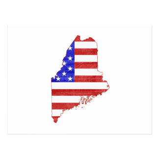 Maine USA flag silhouette state map Postcard
