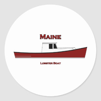 Maine USA Lobster Boat Logo Classic Round Sticker