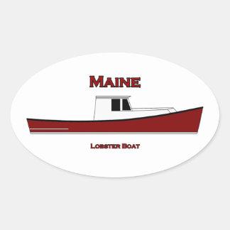 Maine USA Lobster Boat Logo Oval Sticker