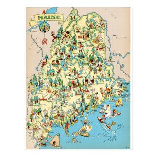Maine Vintage Map Postcard