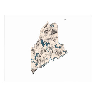 Maine Vintage Picture Map Postcard