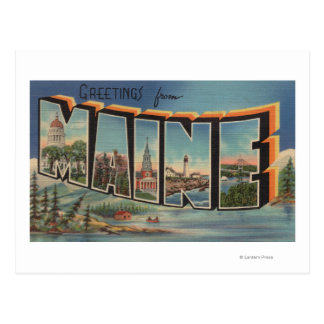 Maine (Winter)Large Letter Scenes Postcard
