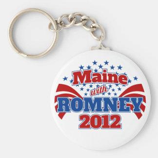 Maine with Romney 2012 Basic Round Button Keychain
