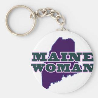 Maine Woman Basic Round Button Keychain