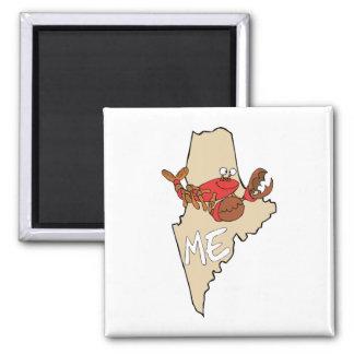 Maine YO mapa del dibujo animado con arte de la la Imán De Frigorifico