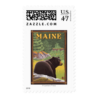 MaineBlack Bear in Forest Postage Stamp