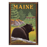 MaineBlack Bear in Forest Poster