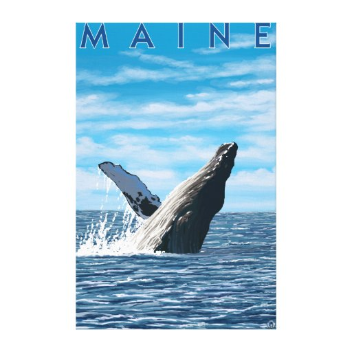 MaineHumpback Whale Scene Gallery Wrapped Canvas