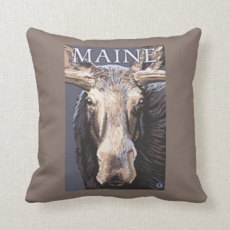 MaineMoose Up Close Throw Pillow