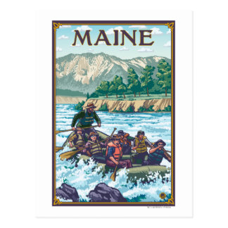 MaineRiver Rafting Scene Postcard