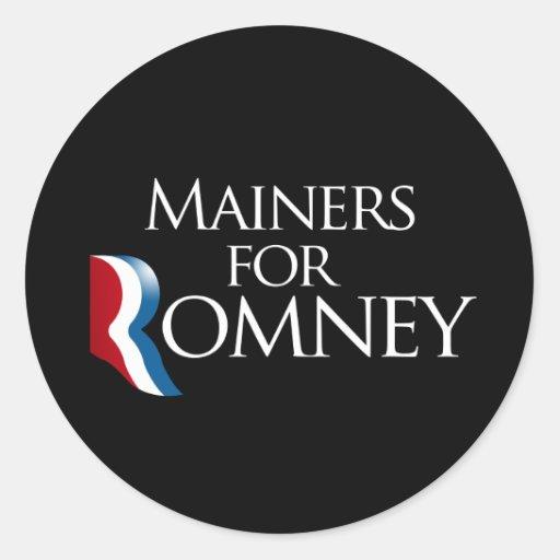 Mainers para Romney - .png Pegatina Redonda