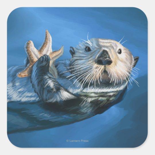 MaineSea Otter Scene Square Sticker