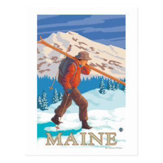 MaineSkier Carrying Skis Postcard
