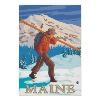 MaineSkier Carrying Skis Poster