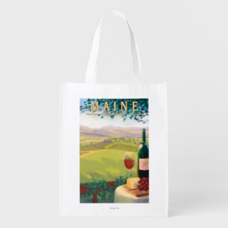 MaineWine Country Scene Reusable Grocery Bags