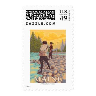 MaineWomen Fly Fishing Scene Stamps