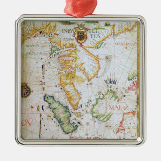 Mainland Southeast Asia, detail from world atlas Square Metal Christmas Ornament