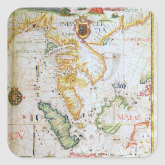 Mainland Southeast Asia, detail from world atlas Square Sticker