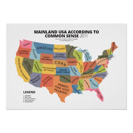 Mainland USA According to Common Sense Posters