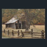 """MAINTENANCE DEFERRED 306 CLOTH PLACEMAT<br><div class=""""desc"""">A classic country scene with a rail fence and old barn.</div>"""