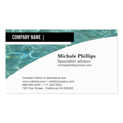 Swimming Pool Service Business Cards : Maintenance of swimming pools pool business card