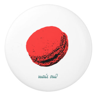 """mais oui"" strawberry macaroon ceramic knob"
