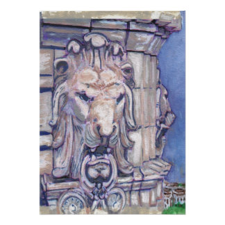 Maison Blanche Building Lion Head Poster