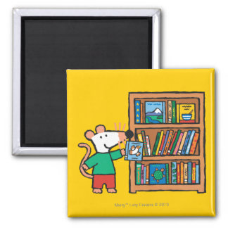 Maisy and a Bookshelf of Books 2 Inch Square Magnet