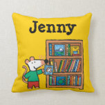 Maisy and a Bookshelf of Books Throw Pillow