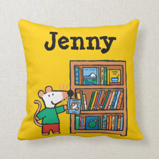 Maisy and a Bookshelf of Books Throw Pillow