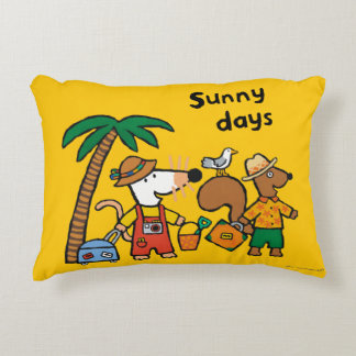 Maisy and Cyril with Palm Tree at the Beach Accent Pillow