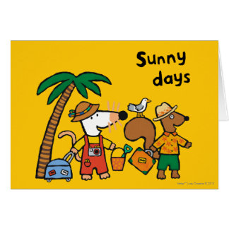 Maisy and Cyril with Palm Tree at the Beach Card