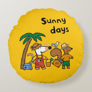 Maisy and Cyril with Palm Tree at the Beach Round Pillow