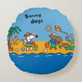 Maisy and Friends at the Beach Round Pillow