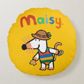 Maisy Collecting Shells At The Beach Round Pillow