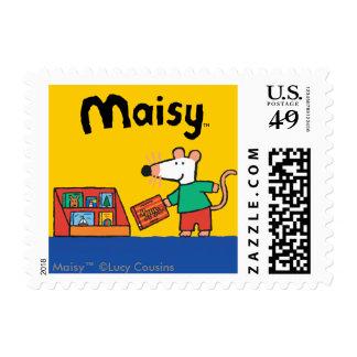 Maisy con los libros de la biblioteca timbres postales