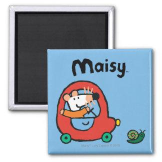 Maisy conduce un coche rojo lindo imán cuadrado