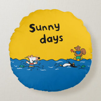 Maisy Goes Swimming at the Beach Round Pillow