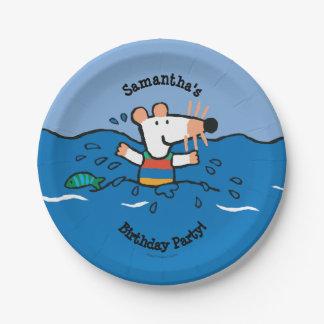 Maisy va a nadar cumpleaños plato de papel de 7 pulgadas