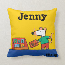 Maisy with Library Books Throw Pillow