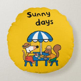 Maisy Writes Postcards under Blue Umbrella Round Pillow