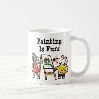 Maisy y pintura manchada en el preescolar taza clásica